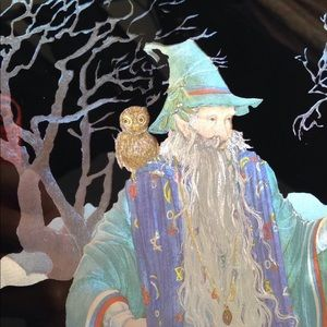 Foil Print Wizard 80s Art Gandalf Owl Staff Magic
